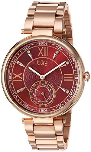 Burgi Women's Quartz Stainless Steel Casual Watch, Color:Rose Gold-Toned (Model: BUR175RG)