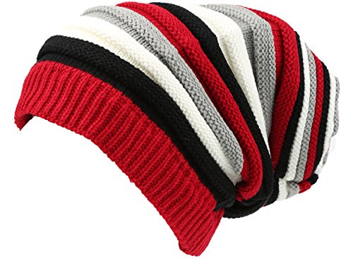 (Sakkas 16144 - CeeLo Long Tall Slouchy Unisex Striped Ribbed Kint Adjustable Beanie Hat - Red/Grey - OS)