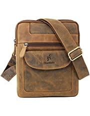 STARHIDE Mens Womens Distressed Hunter Genuine Leather Travel Messenger Bag For Ipad Tablet 505 (Brown)