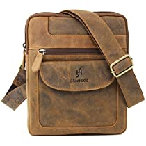 STARHIDE Designer Mens Womens Genuine Cow Hunter Leather Cross Body Messenger Bag #505 (Brown)