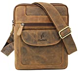 Starhide Mens Womens Brown Distressed Hunter Real Leather Cross Body / Shoulder / Travel Messenger bag for Ipad Tablet #505 (Brown)