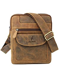 STARHIDE Designer Men's Women's Genuine Cow Hunter Leather Cross Body Messenger Bag #505 (Brown)