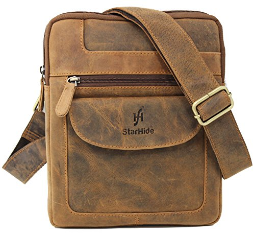 505 Apple (STARHIDE Designer Unisex Real Hunter Leather Cross Body Messenger Bag #505 (Brown))