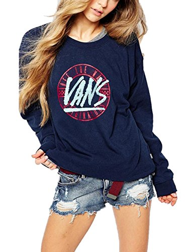 Discount Lingswallow Women's Blue Casual Print Pullover Sweatshirt T-shirt Hoodie Top hot sale