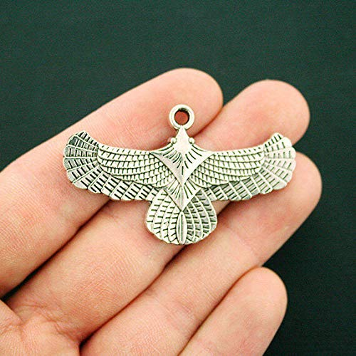 2 Eagle Charms Antique Silver Tone Large Size Incredible Detail Jewelry Making Supply, Pendant, Bracelet, DIY Crafting and Other by Wholesale Charms from Wholesale Charms