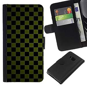 Planetar® Modelo colorido cuero carpeta tirón caso cubierta piel Holster Funda protección Para HTC One M9 ( Texture Checkered Green )