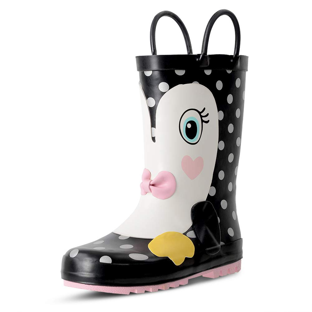 KushyShoo Kids Rain Boots Easy-On Handles, Rubber Rainboots Girls & Boys (Toddler/Little Kids/Big Kids) RCA8