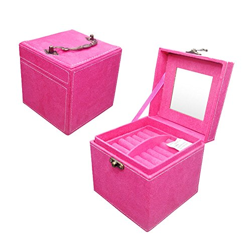 KUKI SHOP Soft Felt 3-Layer Large Capacity Portable Jewelry Display Storage Organizer Box Case with Lock and Mirror for Necklace Earrings Bracelets Hairpieces Rings Watches Brooches (Rose)