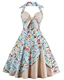 Killreal Women's Vintage Sweetheart Spring Summer Floral Print Bridesmaid Dress with Halter Blue/Beige Small