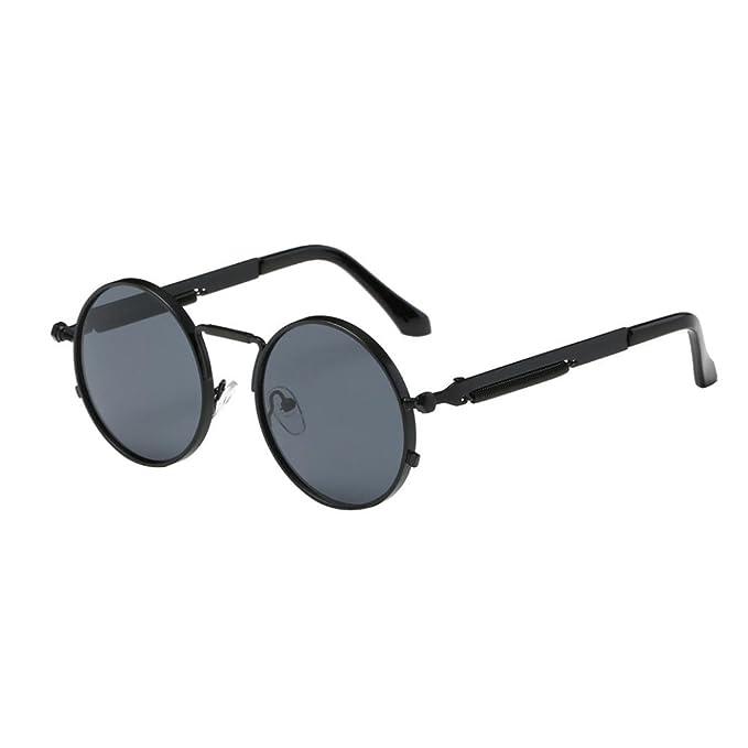 Gusspower Steampunk estilo retro inspirado círculo metálico redondo gafas de sol polarizadas para hombres y mujers