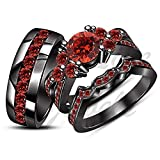ArtLine Jewels 14K Black Gold Plated Alloy Round Cut Red Garnet Engagement Wedding Trio Ring Set
