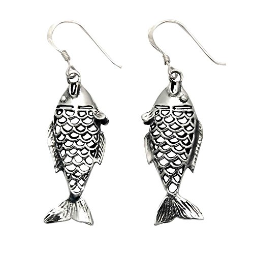 Sterling Silver Fish w/Cutout Scales Wire Earrings