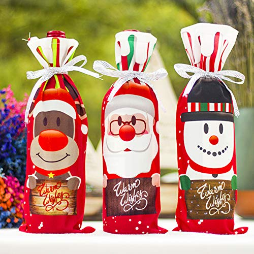 3Pcs Christmas Wine Bottle Cover Holiday Red Wine Bags Wine Gift Bags Champagne bags Santa Claus, Snowman and Bear Party Christmas Decorations Hotel Bar Kitchen Table Decor