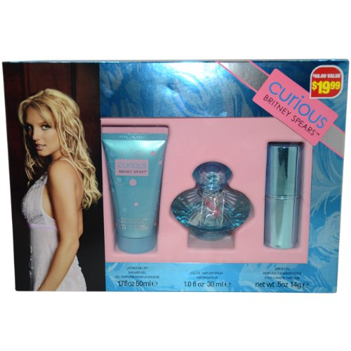 (Britney Spears Curious Britney Spears Gift Set for Women (Eau de Parfum, Shower Gel, Perfumed Shimmer Stick) )