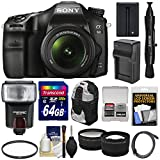 Sony Alpha A68 Digital SLR Camera & 18-55mm Lens with 64GB Card + Battery & Charger + Backpack + Flash + Tele/Wide Lens Kit