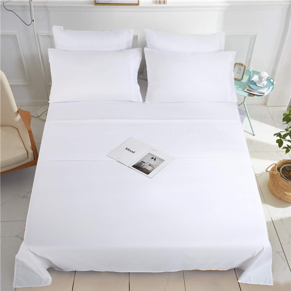 KARRISM Full Size 6 Piece Bed Sheets Set Extra Soft & Breathable Brushed 1800 Series Microfiber, Wrinkle & Fade Resistant, Comfortable Deep Pocket Bedding Set, White