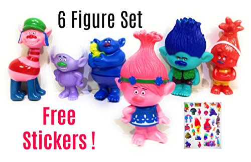 Guys And Dolls Characters Costumes (Trolls Cake Topper | Dolls Figure set | 6 piece 3