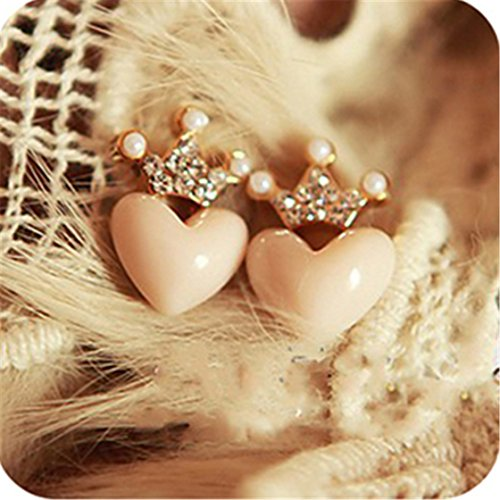 Love Peach (ULAKY Rhinestones Crown Earrings Lovely Love Peach Heart)