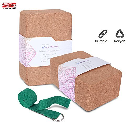 "ARLTB Cork Yoga Block 2 Pack and yoga Strap Set with Metal D Ring 4""x6""x9"" Cork Yoga Bricks and 8"" Yoga Strap Natural and Sustainable Material for Any Type of Yoga Styles"