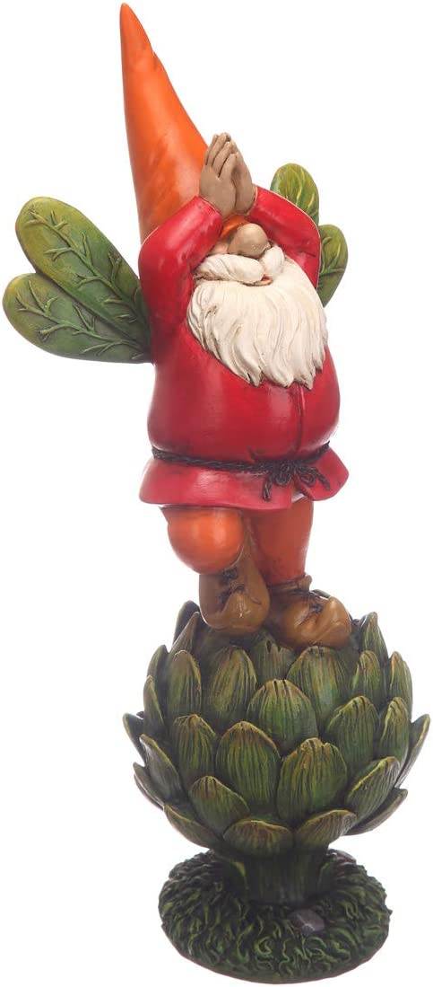 Topadorn Vegetable Garden Gnome Statue Decoration Statuary,Green Plant