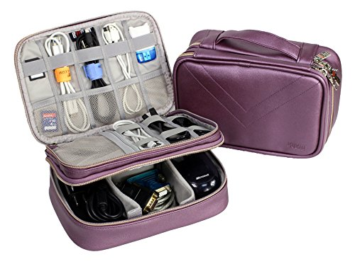 Electronics Organizer Travel Bag Accessories Cable Cord Storage Cases Fit iPad mini (Purple)