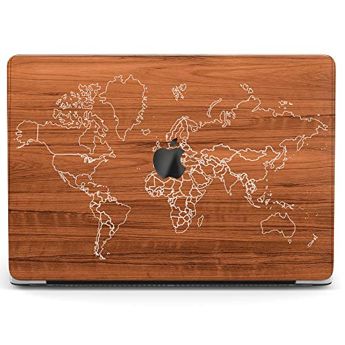 Wonder Wild Case for MacBook Air 13 inch Pro 15 2019 2018 Retina 12 11 Apple Hard Mac Protective Cover Touch Bar 2017 2016 2015 Plastic Laptop Print Wood Texture World Map Wanderlust Drawing Sketch