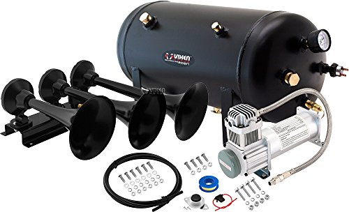 (Vixen Horns Loud 152dB 3/Triple Black Trumpet Train Air Horn with 5 Gallon Tank and 200 PSI Compressor Full/Complete Onboard System/Kit VXO8350/3418B )
