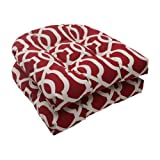 Pillow Perfect Indoor/Outdoor New Geo Wicker Seat Cushion, Red, Set of 2 For Sale