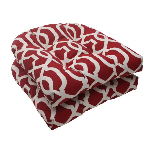 Pillow Perfect Outdoor New Geo Wicker Seat Cushion, Red, Set of 2 (Chairs White Rattan Outdoor)