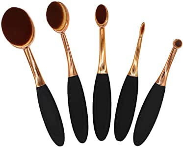 MyLifeUNIT - Juego de brochas ovaladas para maquillaje, 5 piezas, kit de brochas de base profesional (oro rosa): Amazon.es: Belleza