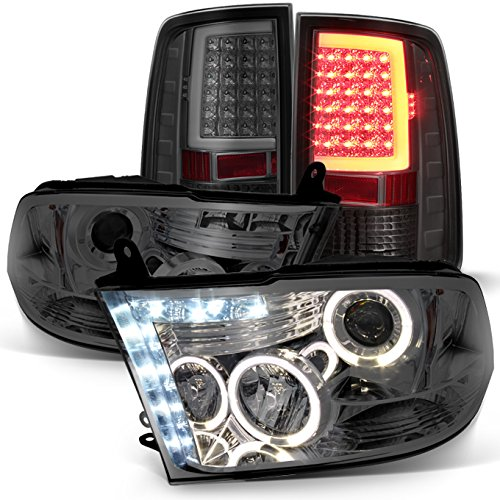 For 2009-2018 Dodge Ram 1500|2500|3500 Halo Projector Headlights w/LED Tail Lights Set - Smoked