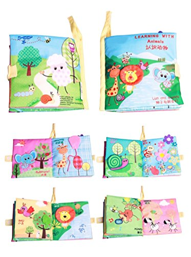 [Baby Learning & Education Toys Reading Cloth Books Baby Toys 0-12 Months Learning (Animals)] (Car Costume Cardboard Box)