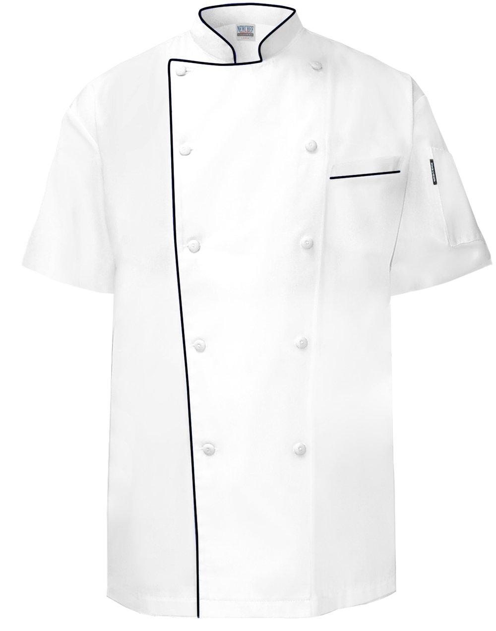 Newchef Fashion VIP Chef Coat Short Sleeves Black Trim L White by Newchef Fashion