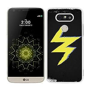 funda carcasa para LG G5 rayo amarillo fondo negro borde blanco