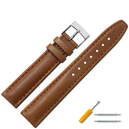 Uhrenarmband 18mm Leder braun mit Naht, Bombage - Lederarmband für Uhren mit einfacher Naht - dezent bombiertes Uhren Ersatzband - Marburger Uhrenarmbänder seit 1945 - hellbraun / silber