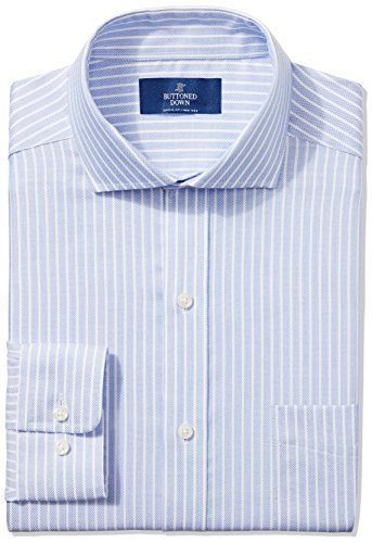 BUTTONED DOWN Men's Classic Fit Cutaway-Collar Non-Iron Dress Shirt, Blue Textured Stripe, 14.5