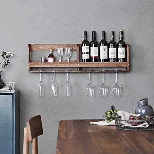 グラスホルダー シンプルなウォールレストランハンギングカップホルダーワイングラスホルダーホームクリエイティブソリッドウッド壁掛けワインラックラック 戸棚の下 (Color : Brown, Size : 90x25x9cm)