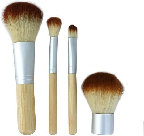 4 pinceles de maquillaje con mango de bambú Conjunto de
