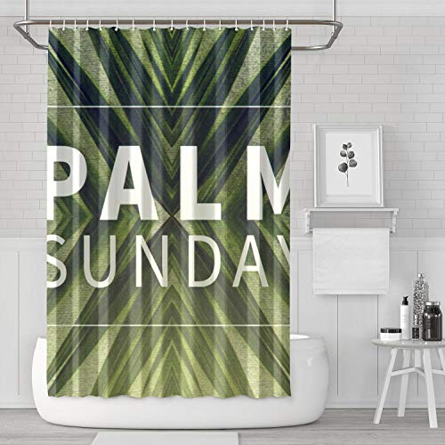YIWNG Shower Curtain Palm Sunday Vintage Wallpaper Translucent Pattern Bathroom for Apartment ()