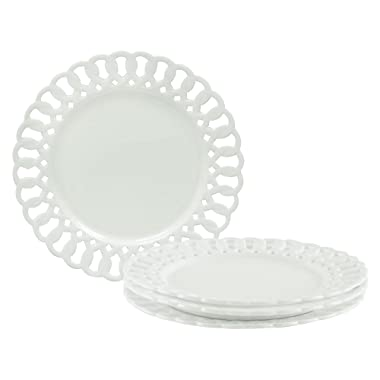 Gracie China by Coastline Imports, Heirloom Collection, 8-Inch Dessert Plate, White Fine Pierced Porcelain, Set of 4