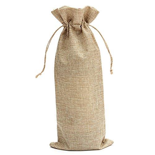 Burlap Wine Bottle Gift Bags - 6