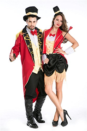 XIAOLI& Halloween Couple Dress Up Game Uniforms Role-Playing Circus Magician Trainer Clothing