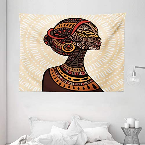 Ambesonne African Tapestry, Hand Drawn Illustration Profile Portrait Ornaments Folk Art, Wide Wall Hanging for Bedroom Living Room Dorm, 80 X 60 , Cream Brown