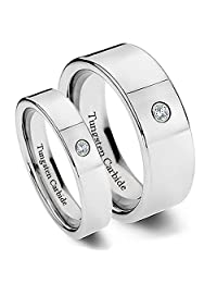 Matching Tungsten Wedding Band Set, Tungsten Carbide for His and Her, Classy, Cubic Zirconia, 8mm and 6mm