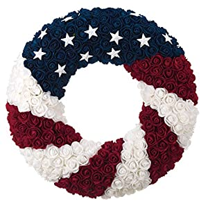 ranspac Silk Rose Americana Wreath, Patriotic Wreath 21 Inch Diameter, Roses and Stars, Red White and Blue 4th of July Decorating 110