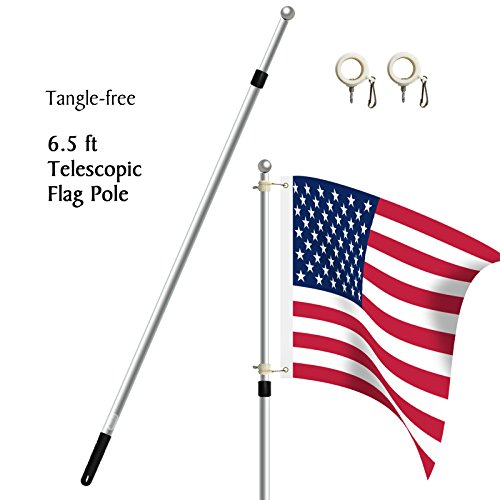 Becko 6.5ft Heavy Duty Aluminum Alloy Telescopic Adjustable Anti-winding Flag Pole - Silver