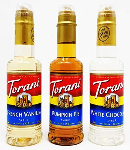 Torani 375 Milliliter (3 Pack), French Vanilla, Pumpkin Pie, White Chocolate ()