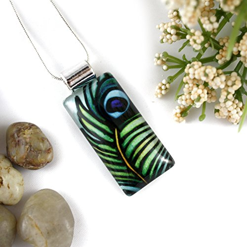 Green Peacock Feather Rectangle Glass Pendant