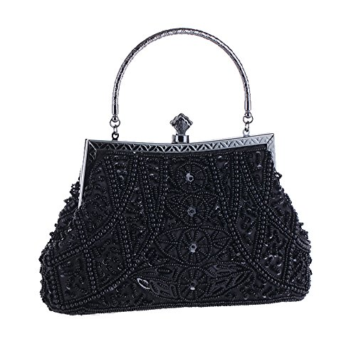 - AIJUN Womne's Vintage Clutch Purse Cocktail Wedding Party Evening Handbag Sequin Moonlight Flower Bead Embroidery Package Evening Bag (Black)