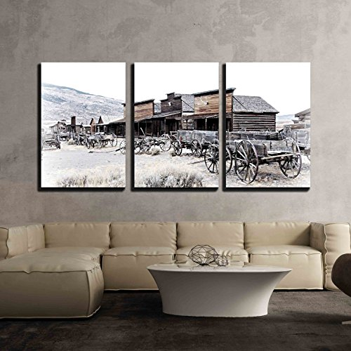 Landmark Outdoor Sconce - wall26 - 3 Piece Canvas Wall Art - Cody, Wyoming, Old Wooden Wagons in a Ghost Town, United States - Modern Home Decor Stretched and Framed Ready to Hang - 24